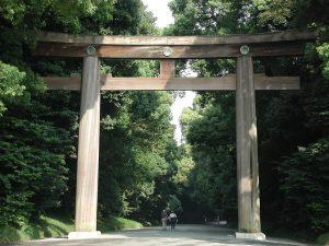 Meiji, Shibuya, Tokio źródłohttpsen.wikipedia.orgwikiMeiji_Shrine#mediaFileMeiji-jingu_torii.JPG