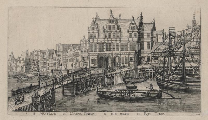 Aegidius Dickman Most przy Zielonej Bramie, karta albumu z widokiem Gdańska, 1617, źródło Gedanopedia
