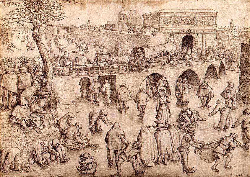Schaatsers voor de Sint-Jorispoort, Pieter Bruegel starszy