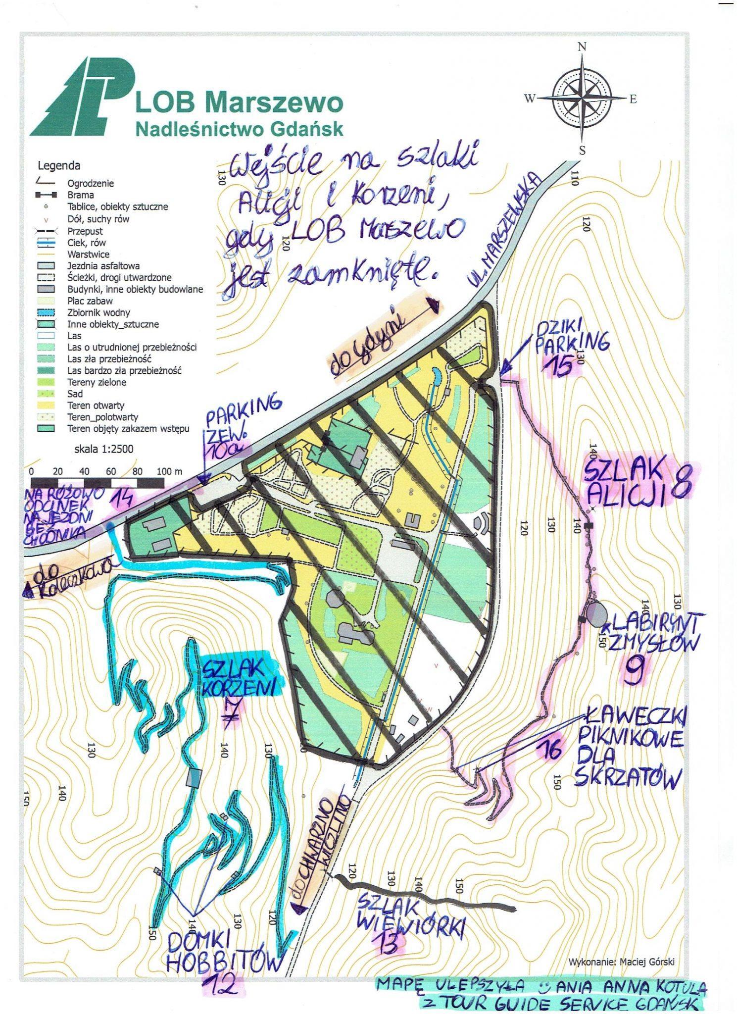 Szlak Alicji i Szlak Korzeni w Marszewie gdy LOB jest zamkniete