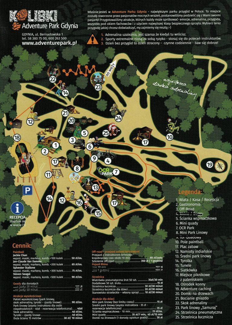 Kolibki Adventure Park Gdynia plan parku